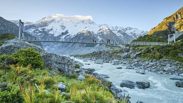 People on bridge on Hooker Valley Track Mount Cook New Zealand)