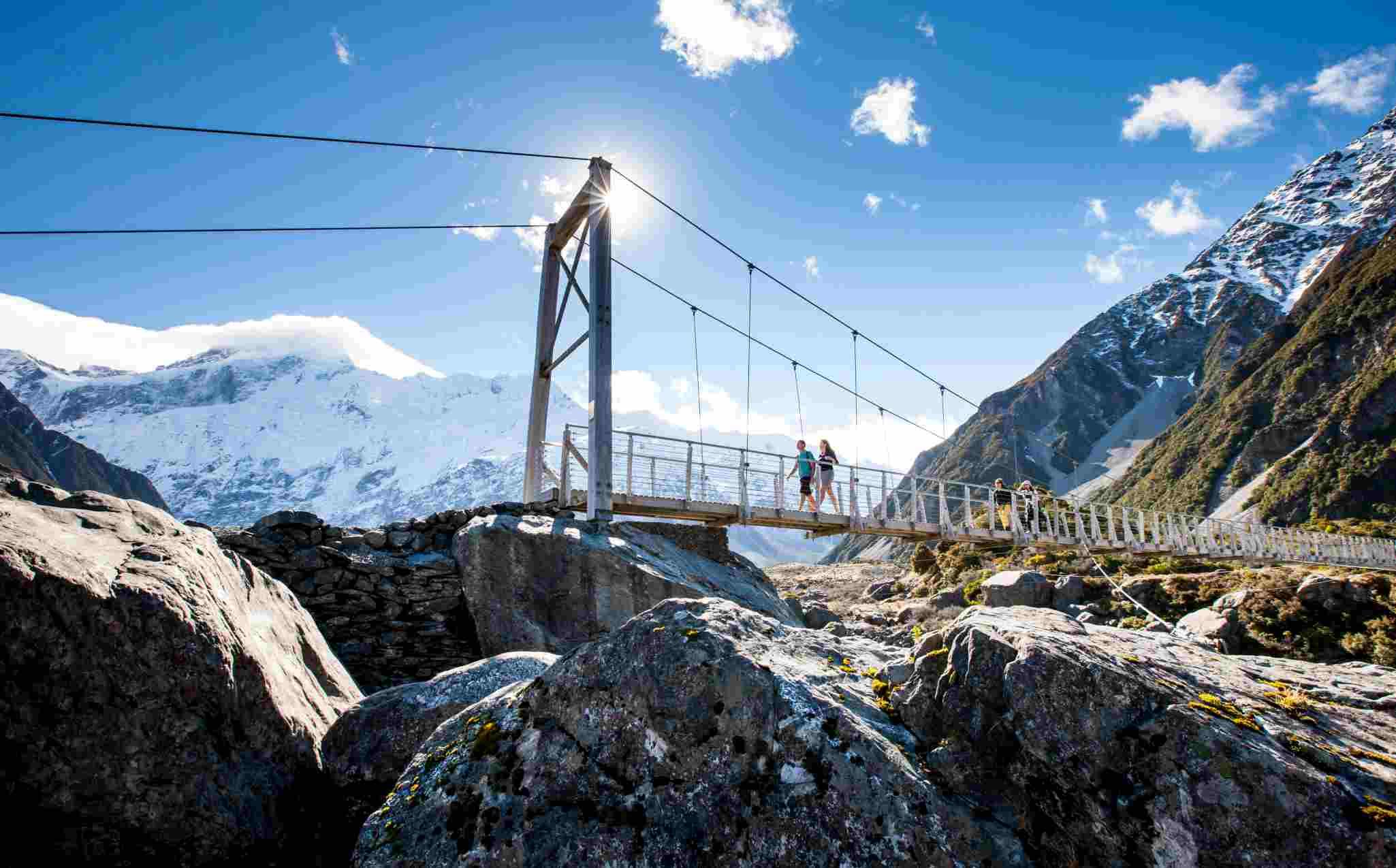 Mount Cook National Park Hooker Valley Swing Bridge
