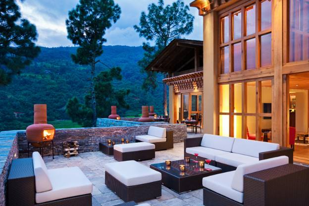 Bhutan Luxury Trekking COMO Uma Punakha Outdoor Terrace