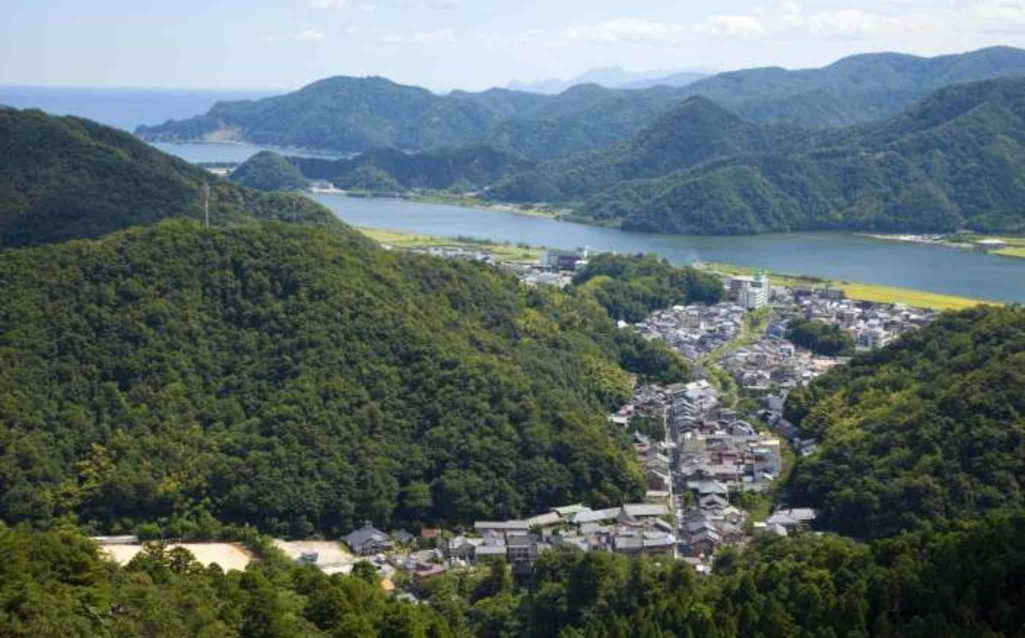 View of Kinosaki Onsen from Mt Tashi